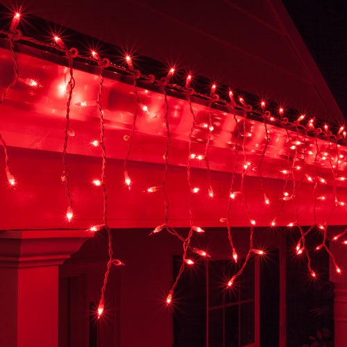150 Red Mini Icicle Light Set, White Wire