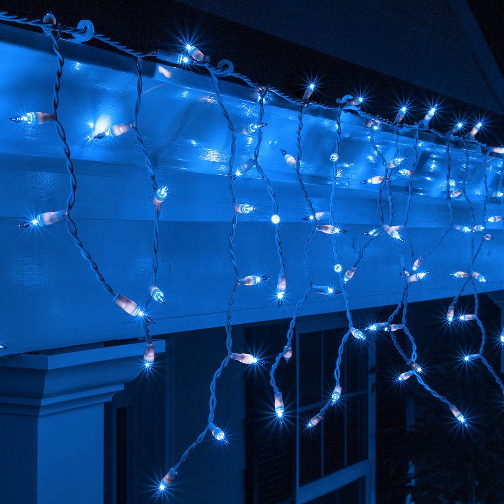 150 Blue Mini Icicle Light Set, White Wire
