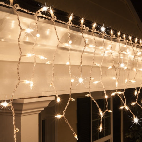 150 Clear Twinkle Mini Icicle Light Set, White Wire