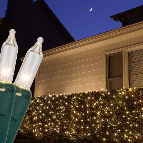 4' x 6' Clear Christmas Net Lights, 150 Lamps on Green Wire