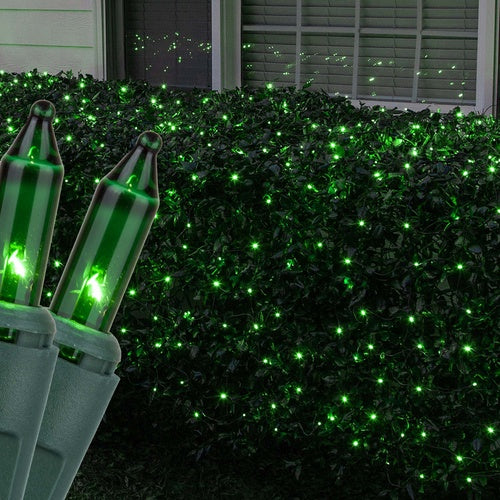4' x 6' Green Christmas Net Lights, 150 Lamps on Green Wire