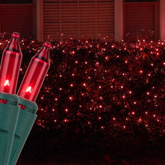 4' x 6' Red Christmas Net Lights, 150 Lamps on Green Wire
