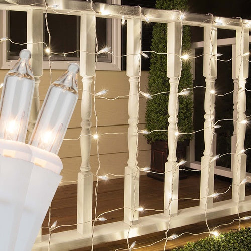 4' x 6' Clear Christmas Net Lights, 150 Lamps on White Wire