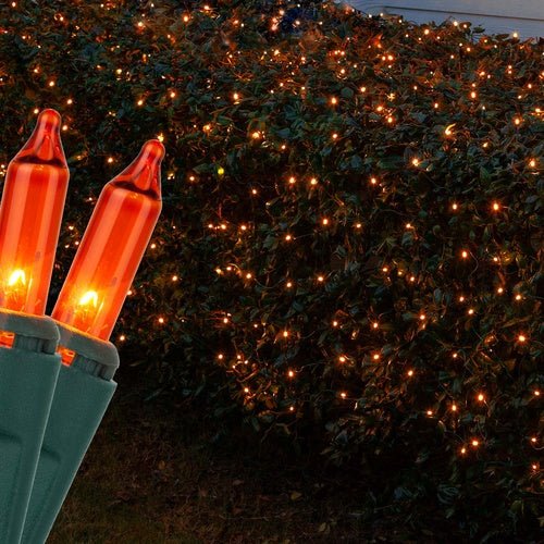 4' x 6' Orange Christmas Net Lights, 150 Lamps on Green Wire