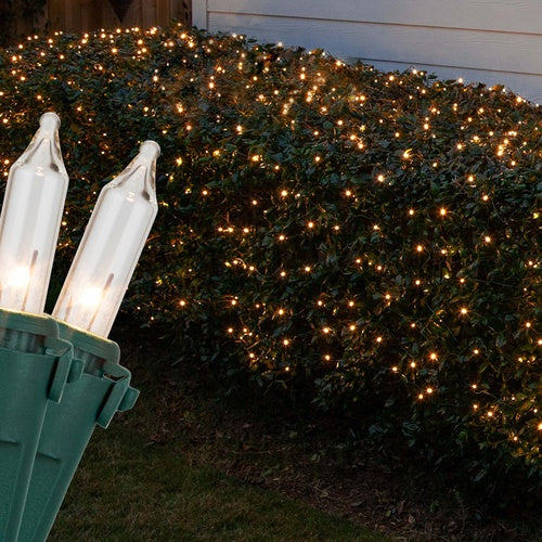 Commercial 4' x 6' Clear Christmas Net Lights, 150 Lamps on Green Wire