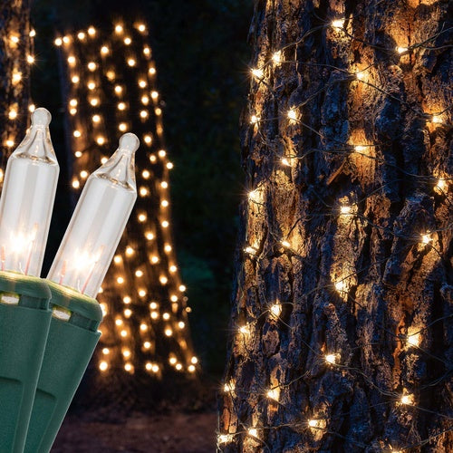 2' x 8' Clear Christmas Trunk Wrap Lights, 100 Lamps on Green Wire