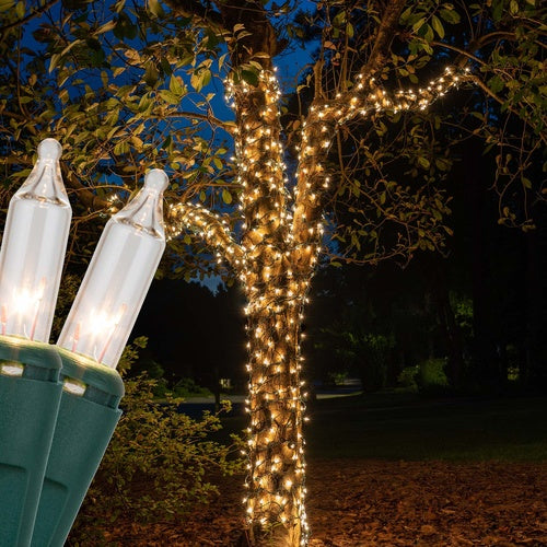"""6"""" x 15' Clear Christmas Trunk Wrap Lights, 150 Lamps on Green Wire"""