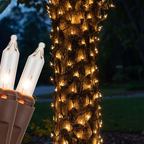 """6"""" x 12' Clear Christmas Trunk Wrap Lights, 150 Lamps on Brown Wire"""