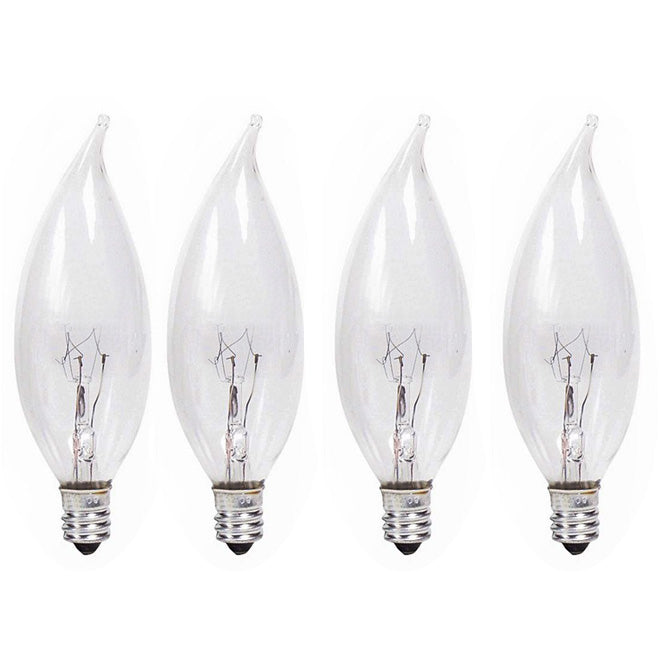 Philips 25w 120v BA9 E12 Clear DuraMax Decorative Incandescent lamp - 4 bulbs