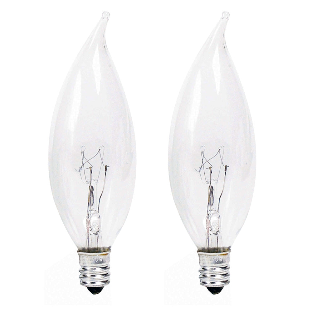 2 Pk. - Philips 25w 120v BA9 Clear DuraMax Decorative Chandelier Incandescent