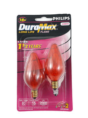 2pk- Philips 15W Amber Long life Decorative Candelabra Incandescent Light Bulb