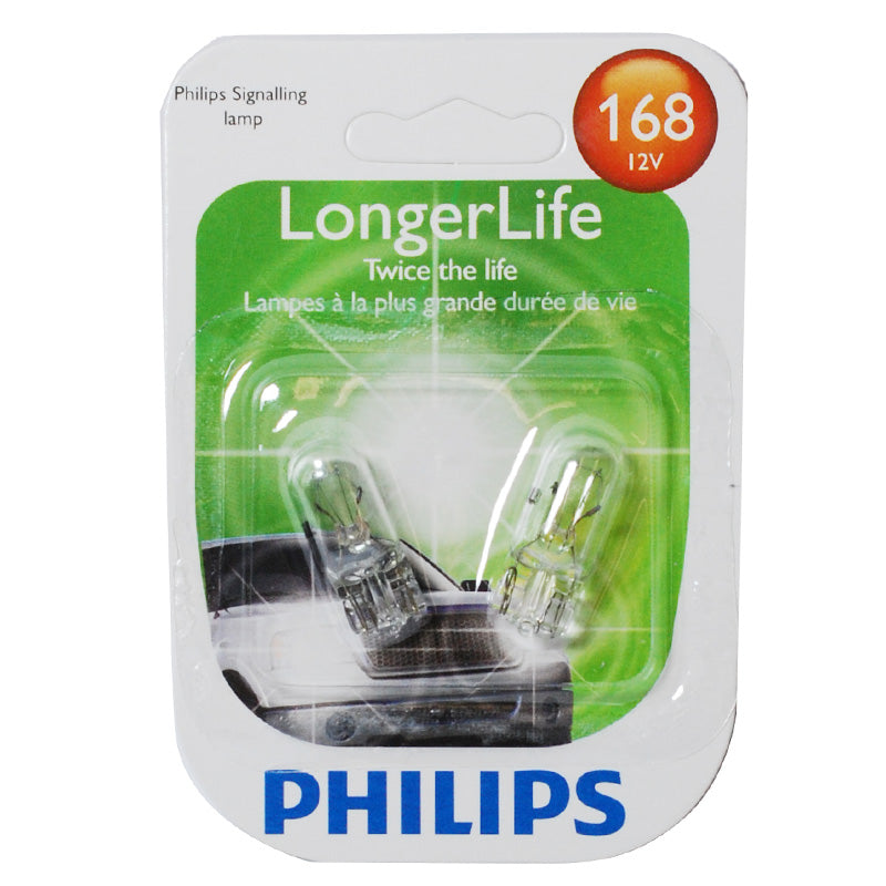 Philips 168LL - 5w 12v Wedge base Automotive Long Life Bulb - 2 pack