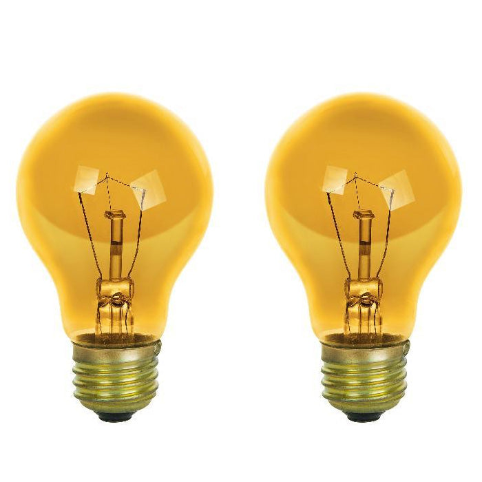 6Pk - SUNLITE 25w A19 120v Transparent Yellow Medium Base Bulb