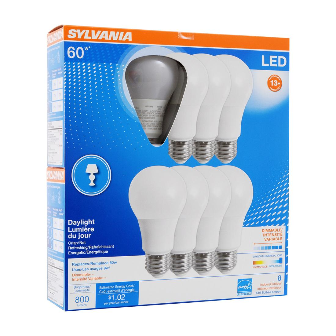 8Pk - Sylvania - 9W A19 LED 800LM 5000K Daylight Dimmable Bulb - 60w equiv