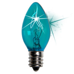 25 Bulbs - C7 Twinkle Triple Dipped Transparent Teal, 7 Watt lamp