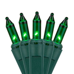 "35 Green Craft Lights, Green Wire, 4"" Spacing"