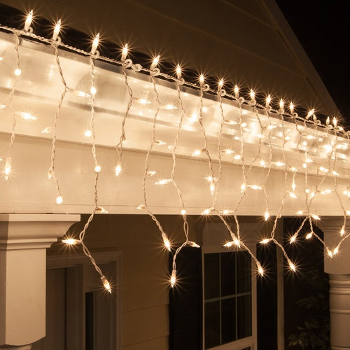100 Clear Mini Icicle Light Set, White Wire