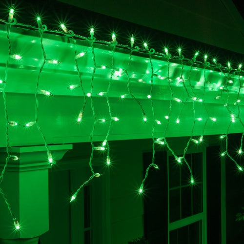 100 Green Mini Icicle Light Set, White Wire