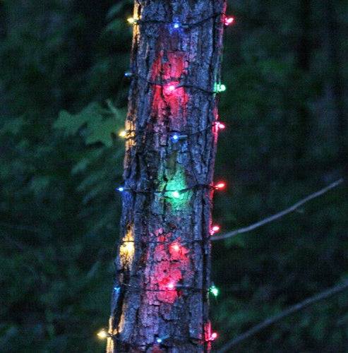 """6"""" x 12' Multicolor Christmas Trunk Wrap Lights, 150 Lamps on Brown Wire"""