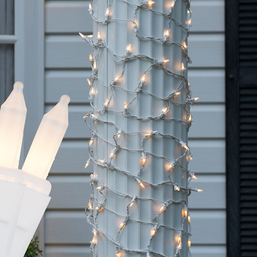 """6"""" x 15' White Frost Christmas Column Wrap Lights, 150 Lamps on White Wire"""