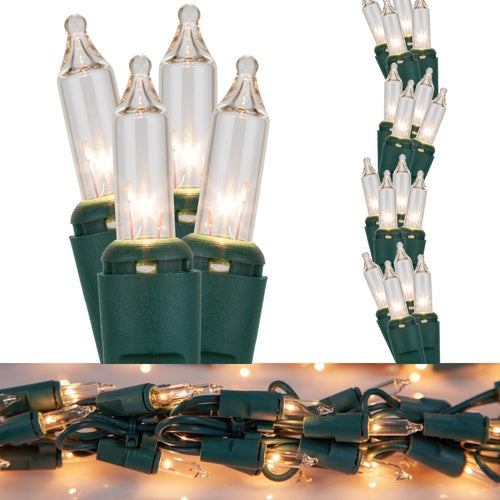 9' Garland Lights, 300 Clear Lamps, Green Wire