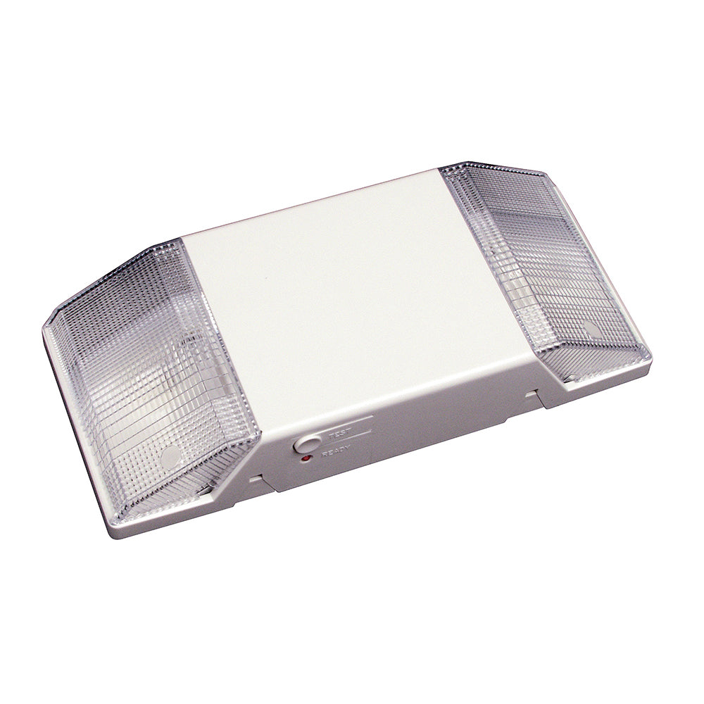 NICOR Low-Profile Emergency Back-Up Light Fixture with Two Lights White