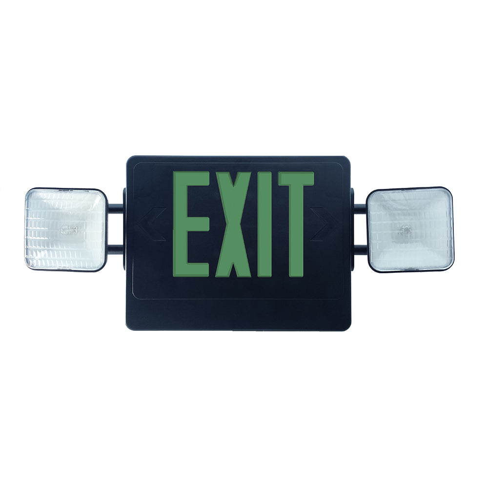 NICOR Remote Capable Emergency LED Exit Sign black w/ green letters