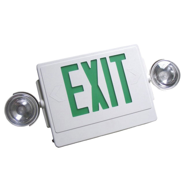 NICOR Emergency LED Exit Sign w/ Dual Emergency Lights white w/ green lettering
