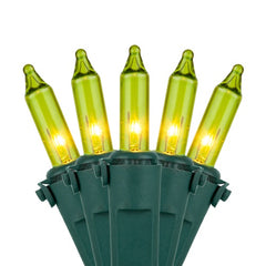 "50 Chartreuse Mini Lights, Lamp Lock, Green Wire, 6"" Spacing"