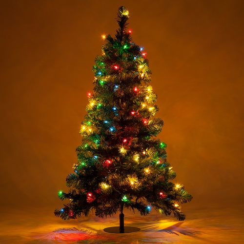 2 Trees - 3' Winchester Fir Walkway Tree, Multicolor Lights