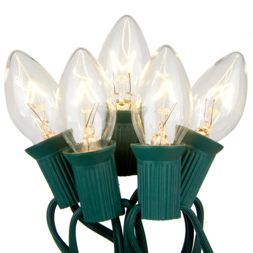 """C7 Clear Transparent Steady 25 Light Set, Green Wire, 12"""" Spacing"""
