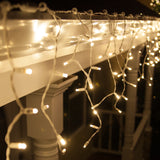 70 Warm White Twinkle 5mm LED Icicle Light Set with White Wire - BulbAmerica