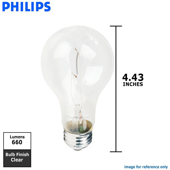 Philips 69w 130v A-Shape A21 Clear E26 Traffic Signal Incandescent Light Bulb