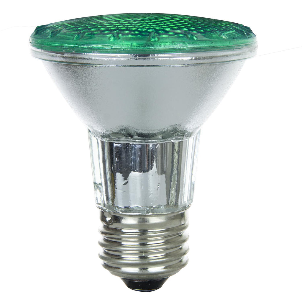 SUNLITE 50w PAR20 Narrow Flood 30 deg. Colored Medium Base Green Halogen Lamp