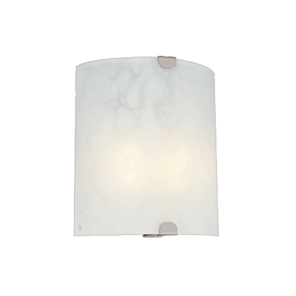 10 in. Wall Sconce Nickel with Alabaster Glass 2X13GU