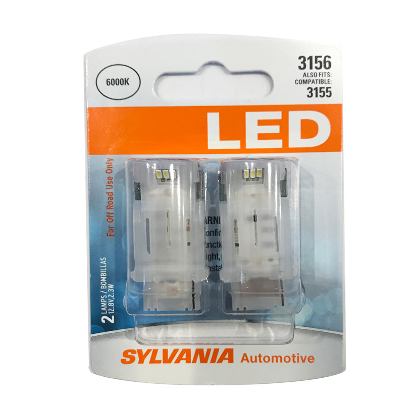 2-PK SYLVANIA 3156 White LED Automotive Bulb