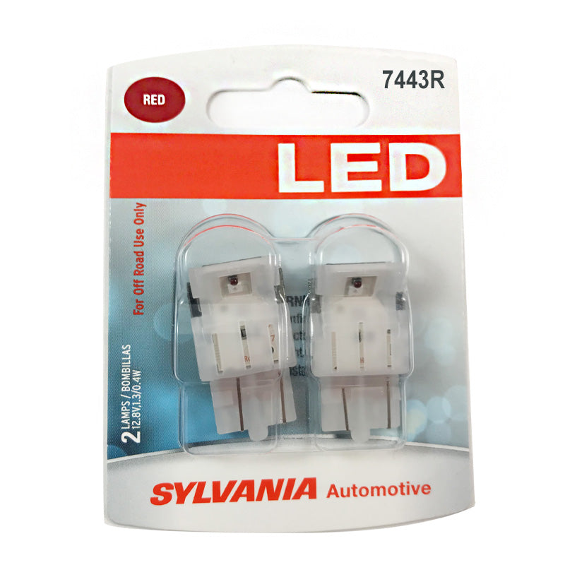 2-PK SYLVANIA 7443R T20 Red LED Automotive Bulb