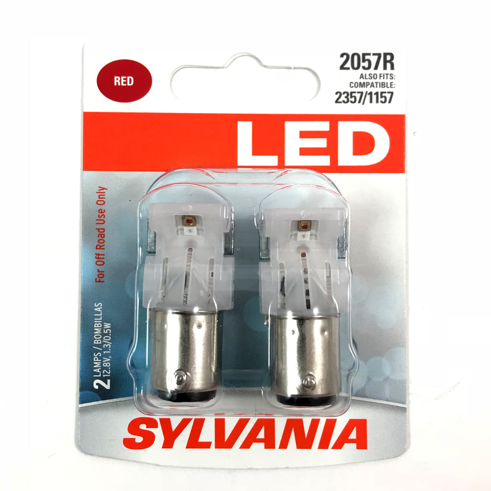 2-PK SYLVANIA 2057R Red LED Automotive Bulb