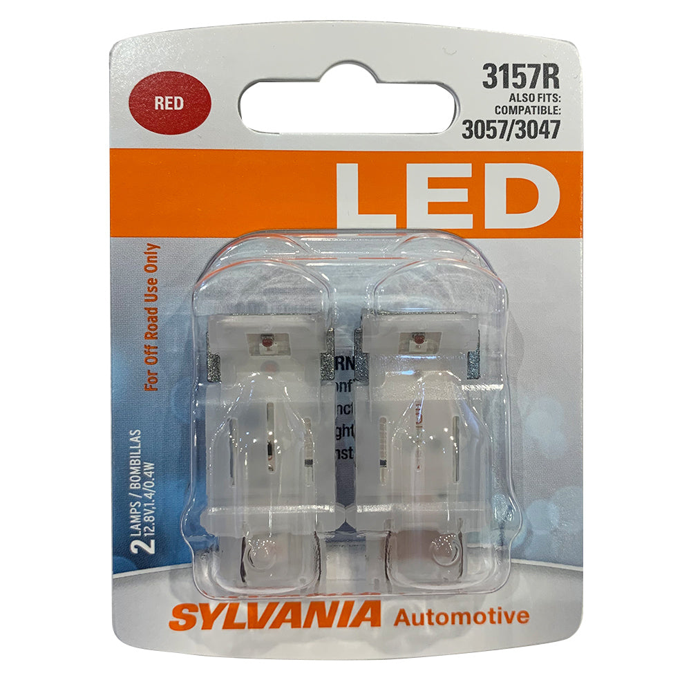 2-PK SYLVANIA 3157 Red LED Automotive Bulb
