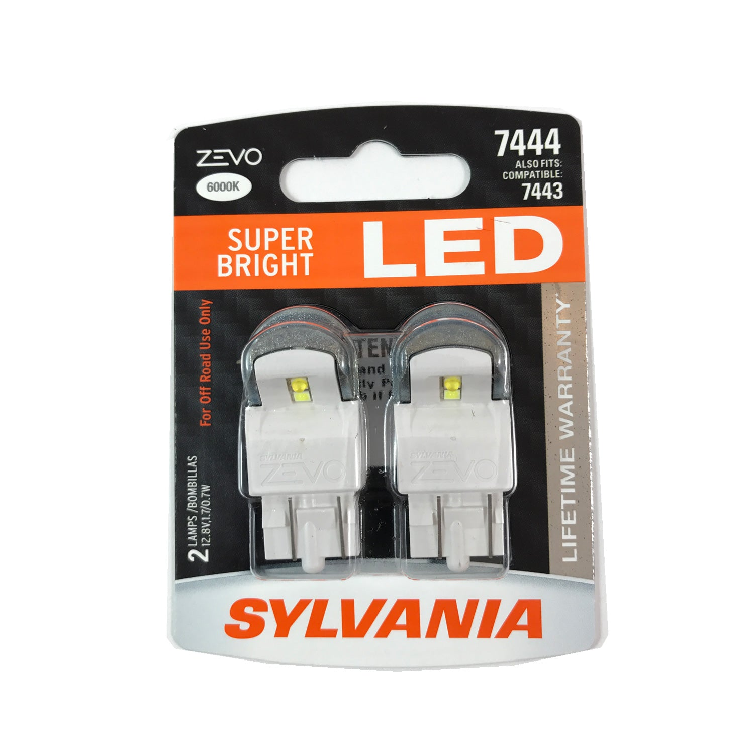 2-PK SYLVANIA ZEVO 7444 T20 White LED Automotive Bulb