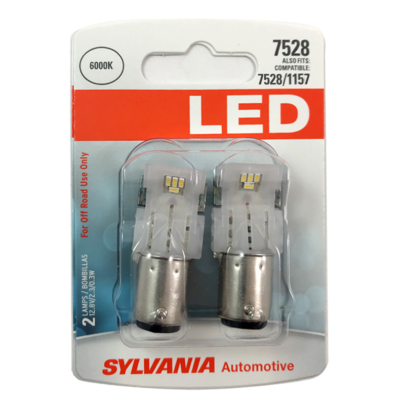 2-PK SYLVANIA 7528 LED Cool White Automotive Bulb - also fits 2057 & 2357