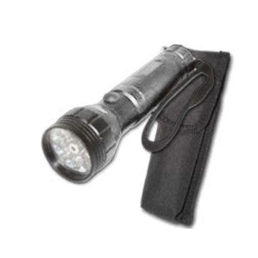 BulbAmerica 15 LED Silver Flashlight with Laser and Carrying Pouch