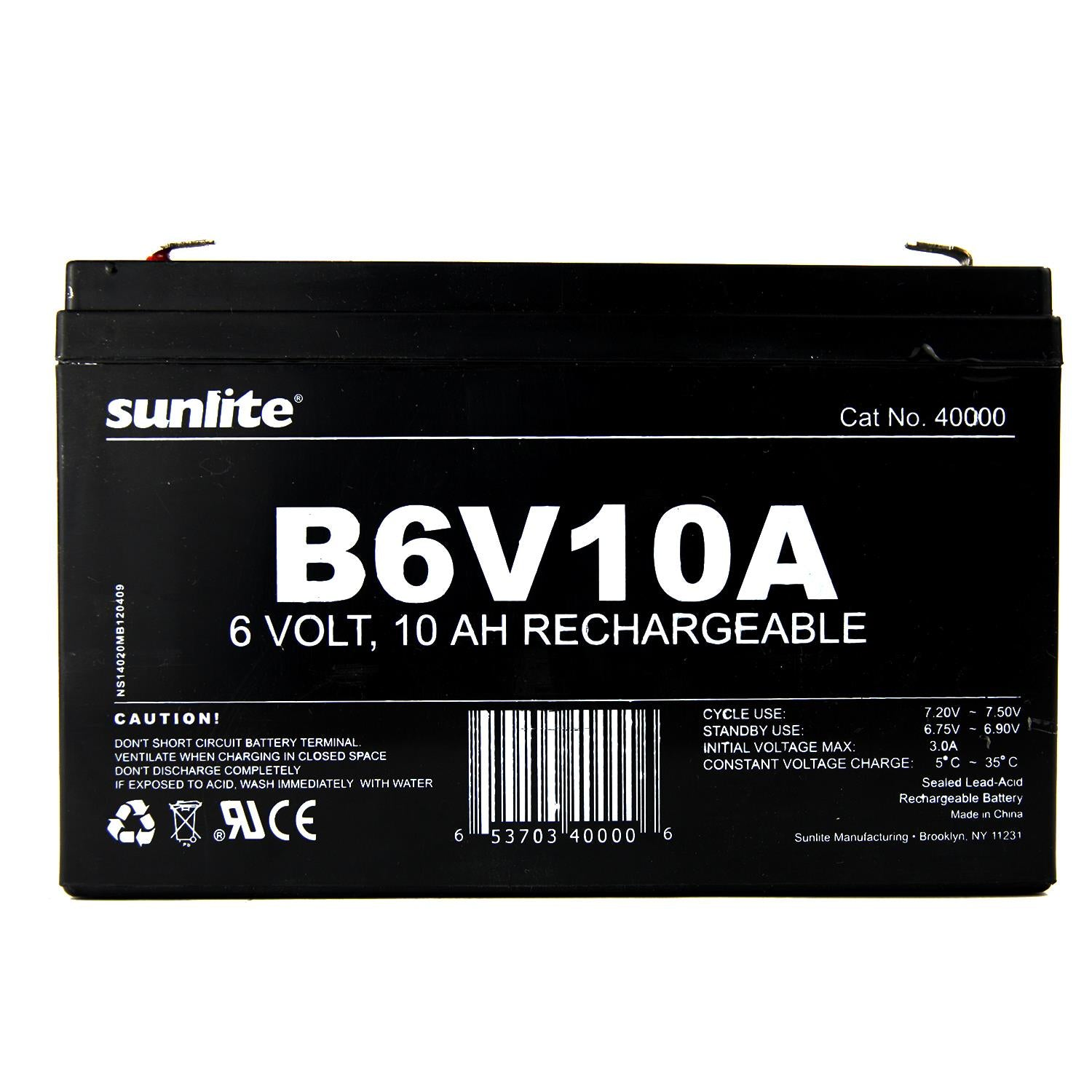 SUNLITE 6V 10A Emergency Back-Up Battery