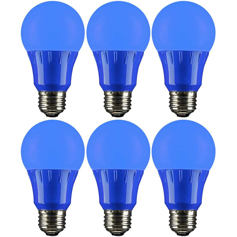 6Pk - Sunlite 3 Watt LED A19 Lamp E26 Medium Base Blue 120 Volt