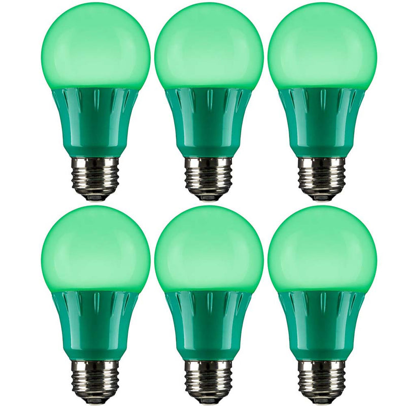 6Pk - Sunlite 3 Watt LED A19 Lamp E26 Medium Base Green 120 Volt