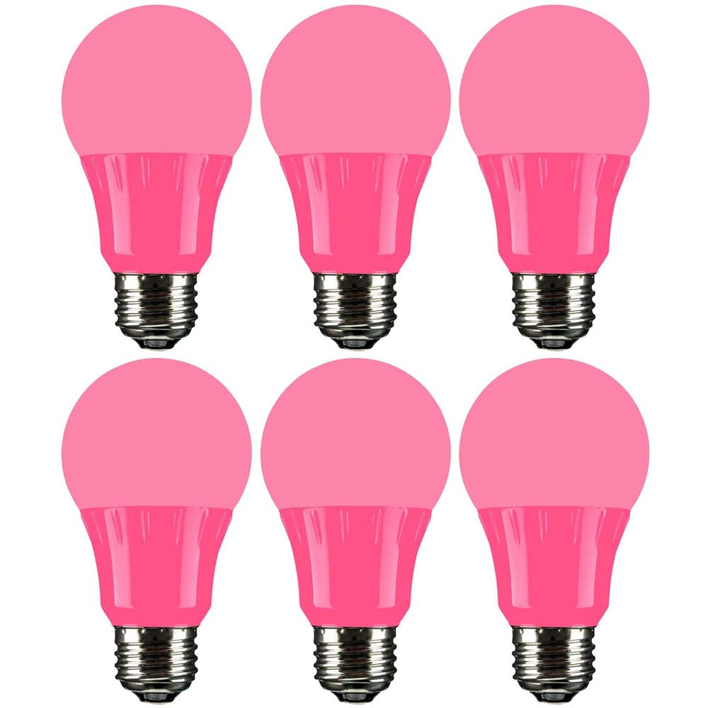 6Pk - Sunlite 4.5 Watts LED A19 Colored Red Transparent Dimmable Light Bulb