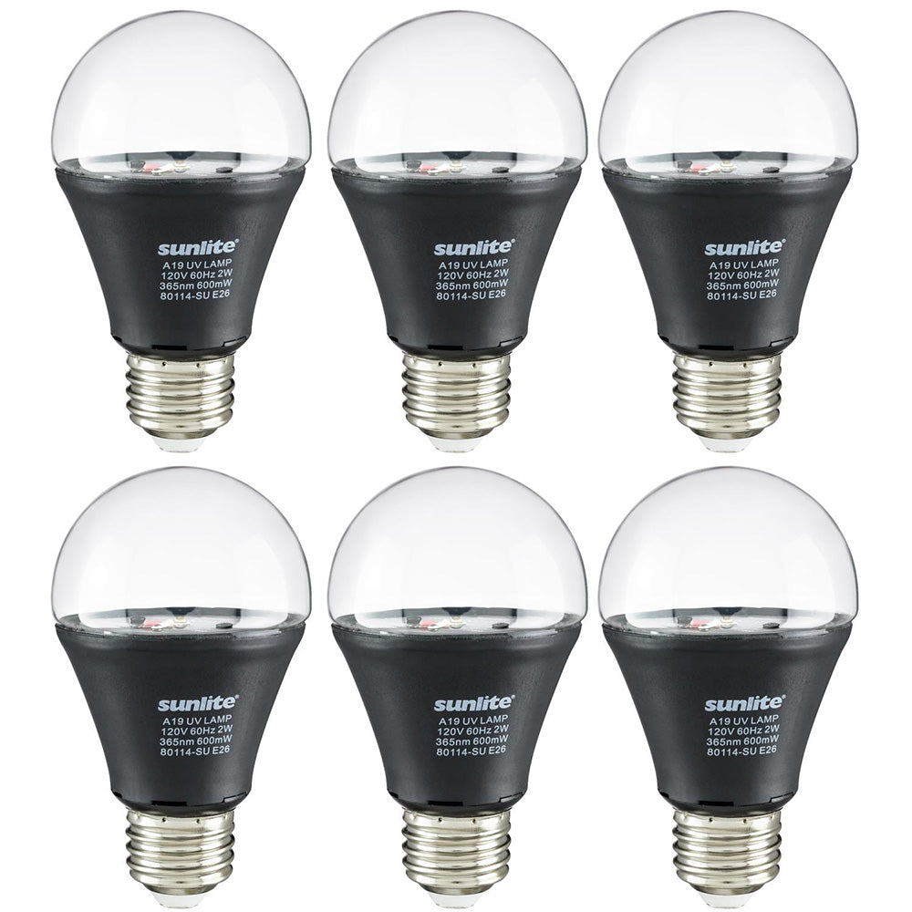 6Pk - 2 watts LED A19 Medium Base E26 Blacklight UV Bulb