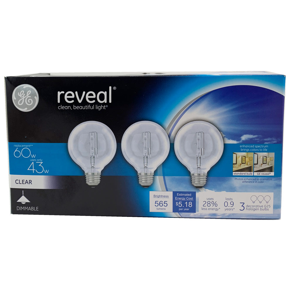 3 Pk. - GE 40w Globe G25 Reveal Halogen light bulb - 60w equivalent