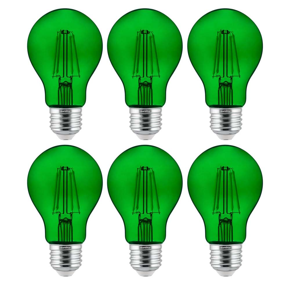 6Pk - Sunlite 4.5 Watts LED A19 Colored Green Transparent Dimmable Light Bulb