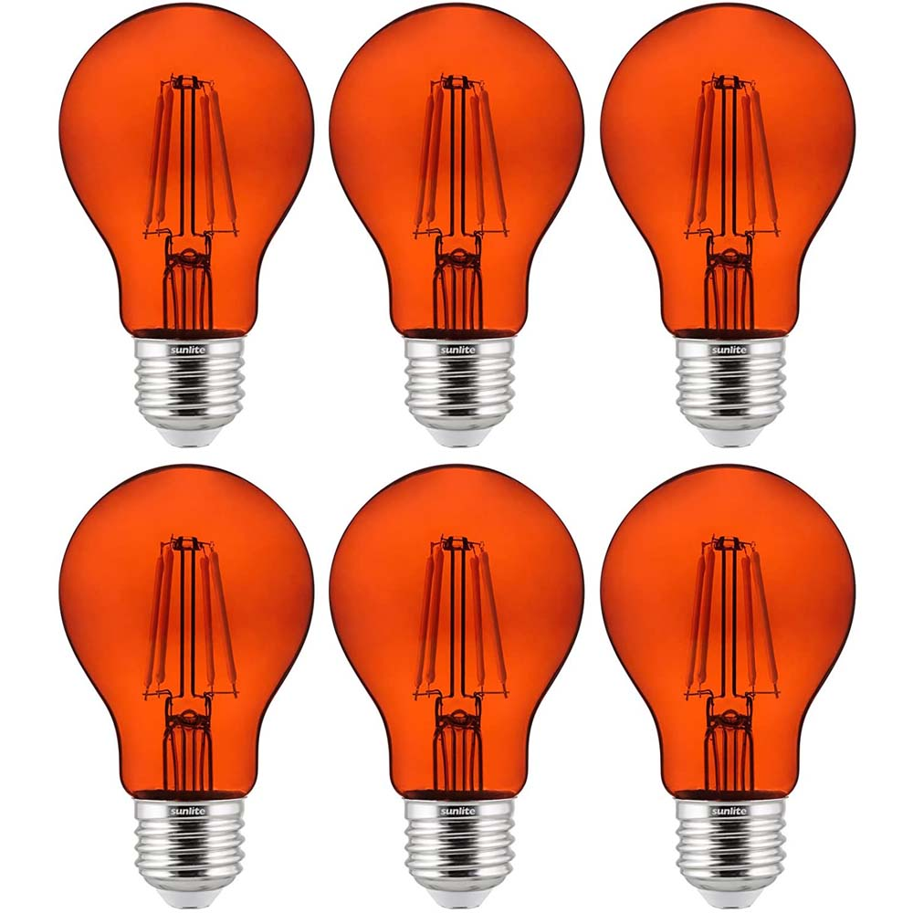 6Pk - Sunlite 4.5 Watts LED A19 Colored Orange Transparent Dimmable Light Bulb